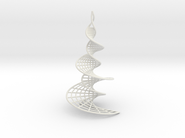 Helicoidal Earrings with Spirals in White Natural Versatile Plastic