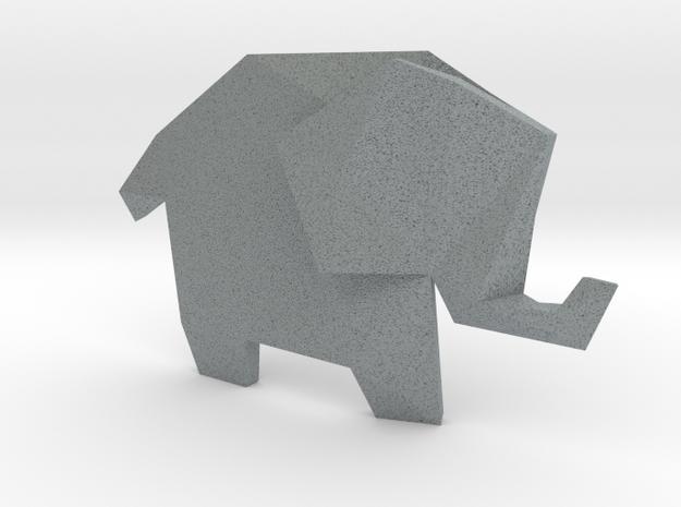 Origami Elephant 3d printed Premium Silver