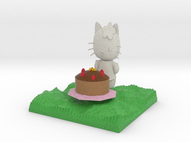 smaller Hello Kitty With Cake in Full Color Sandstone