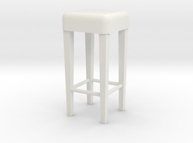 1:24 Stool 1 in White Natural Versatile Plastic