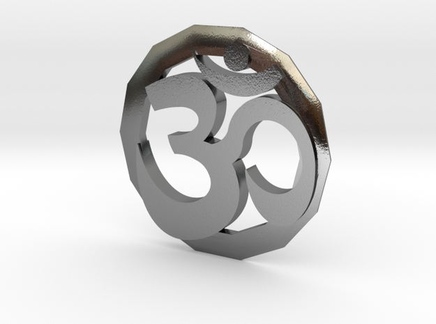 Om Pendant in Polished Silver