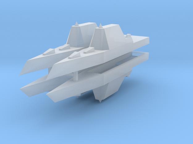 Zumwalt Class Destroyer 1:3000 x4 in Smooth Fine Detail Plastic