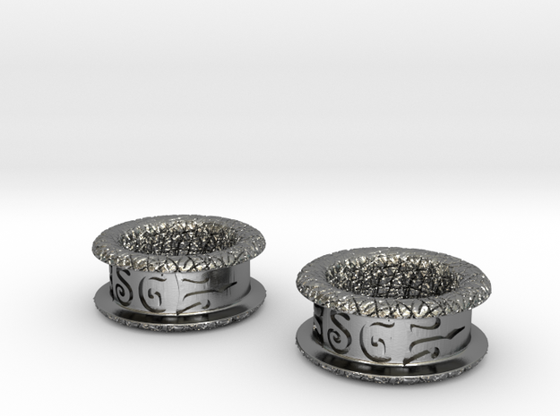 Silver Double Flared Flesh Tunnel Plugs - Pair 3d printed