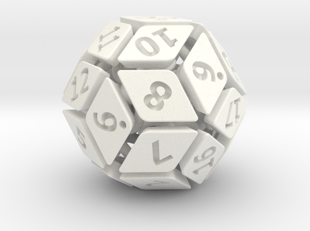 New Class of Dice - Spring-loaded 30-sided die in White Strong & Flexible Polished