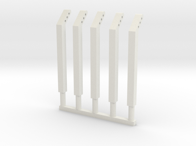 4mm scale fence posts in White Natural Versatile Plastic