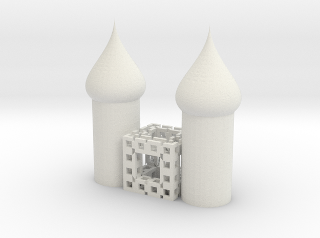 Fractal 444 cube cathedral in White Strong & Flexible