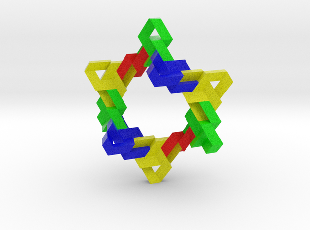 Ten Linked Trefoil Knots from Triangular Beam 3d printed