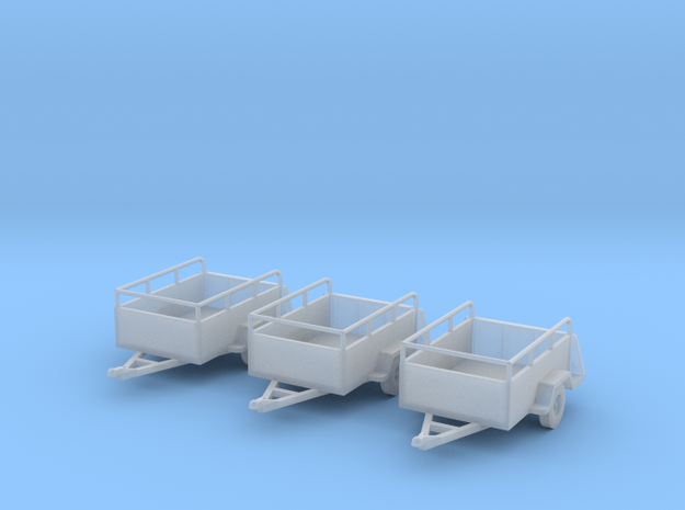 Open Trailers Old U-haul Style X3 HO 1/87 3d printed