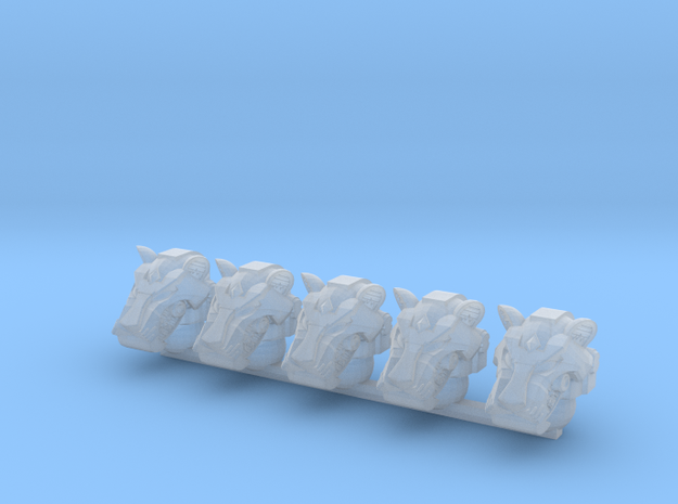 Tiger Helms (x5) in Smooth Fine Detail Plastic