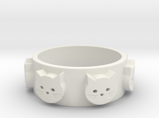 Ring of Seven Cats Ring Size 8 in White Natural Versatile Plastic