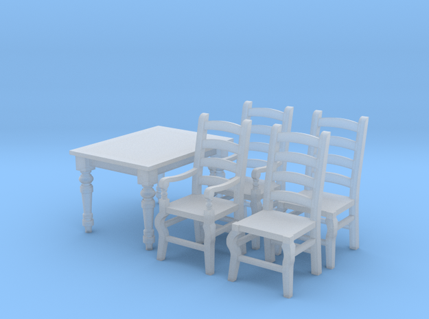 1:48 Farmhouse Table & Chairs in Frosted Ultra Detail
