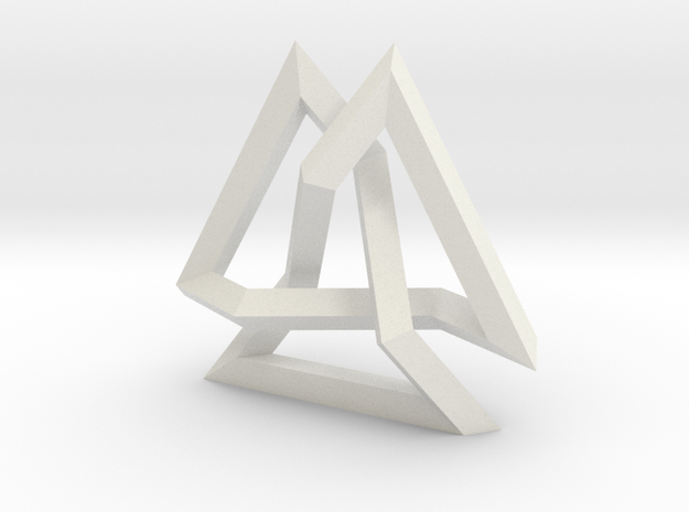 Trefoil Knot inside Equilateral Triangle (Small) in White Natural Versatile Plastic