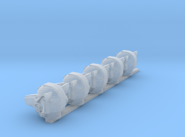 Wolf Helms (x5) in Smooth Fine Detail Plastic