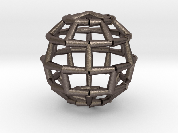 Brick Sphere 2 in Polished Bronzed Silver Steel