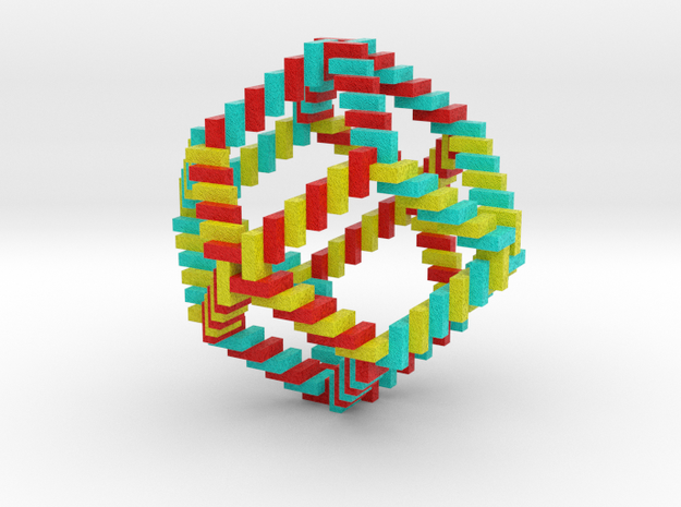 Curly Rhombic Dodecahedron in Full Color Sandstone