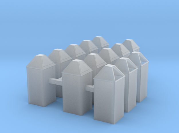 Square trash cans HO scale in Smooth Fine Detail Plastic