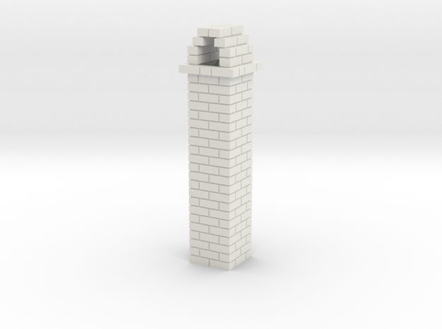Brick Chimney 01 7mm scale in White Natural Versatile Plastic