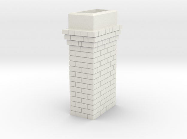Brick Chimney 03 7mm scale in White Natural Versatile Plastic