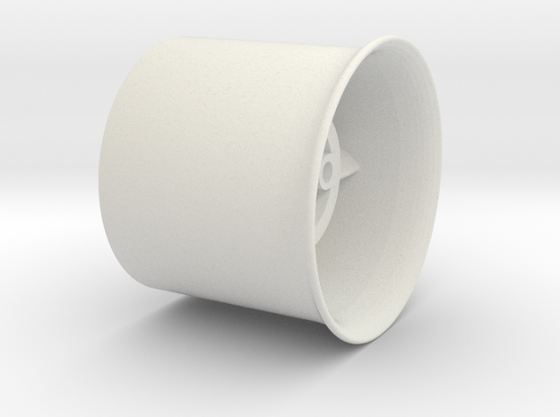 20mm flanged EDF case in White Natural Versatile Plastic