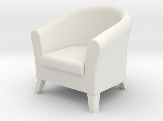 1:24 Club Chair in White Natural Versatile Plastic