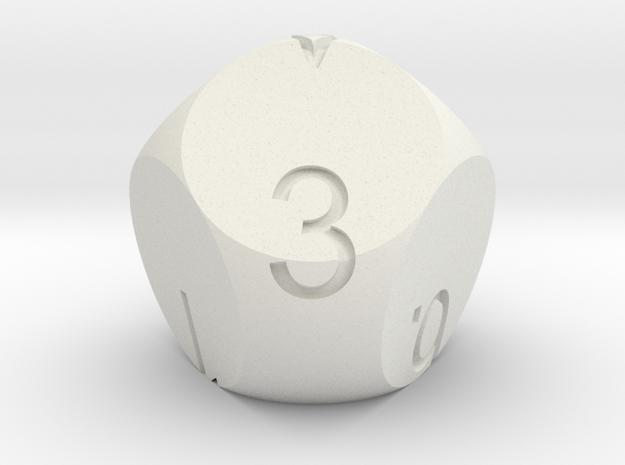 D7 3-fold Sphere Dice in White Natural Versatile Plastic