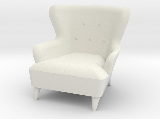 1:24 Moderne Wingback Barrel Chair in White Natural Versatile Plastic