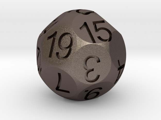D19 Sphere Dice in Polished Bronzed Silver Steel