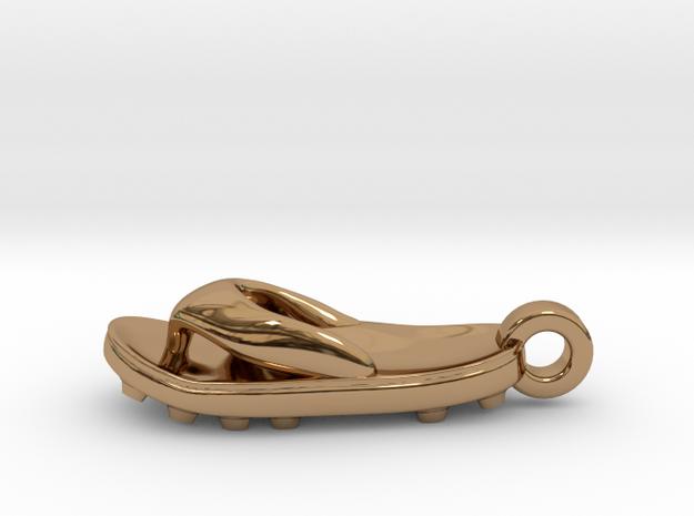 Soccer / football flipflop pendant 3d printed flipflop sandalRaw Bronze