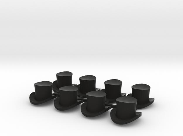 28mm Top hats (x8) in Black Natural Versatile Plastic