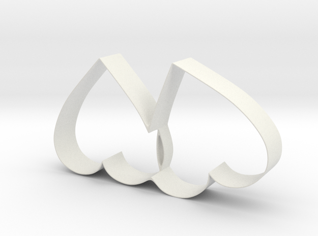 Cookie Cutter - Two Hearts Valentine Design in White Natural Versatile Plastic
