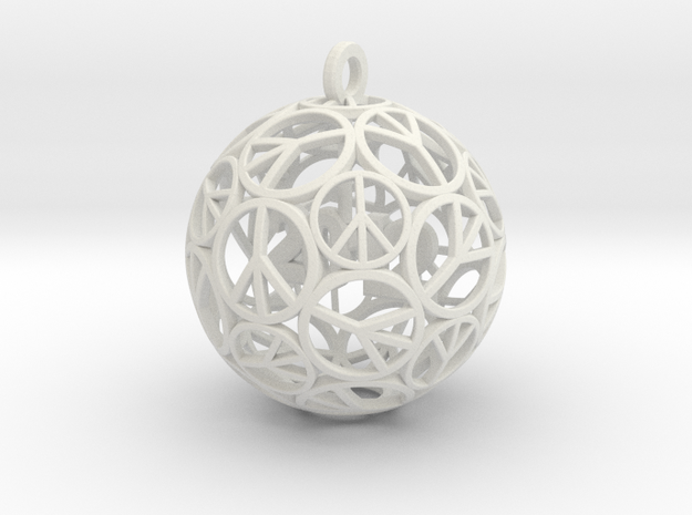 Peace Christmas Ornament  in White Natural Versatile Plastic