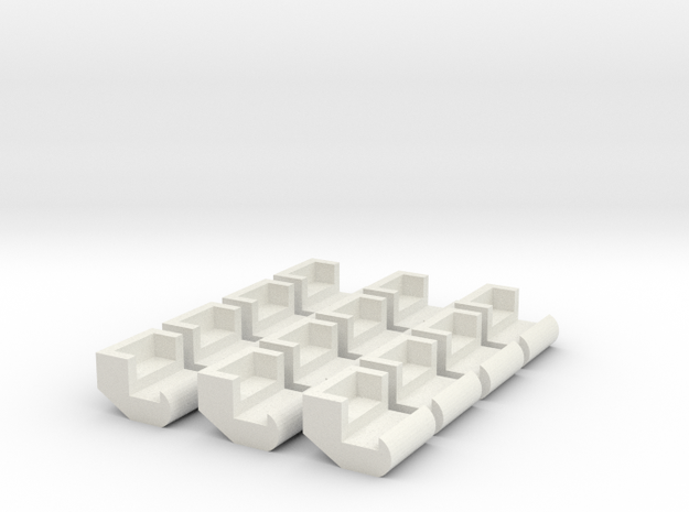 Little Scrambler Seat Set HO Scale in White Strong & Flexible