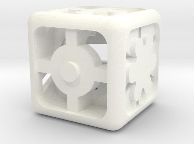 Geometric Dice in White Processed Versatile Plastic