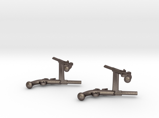 Dueling Pistol Cufflinks in Polished Bronzed Silver Steel