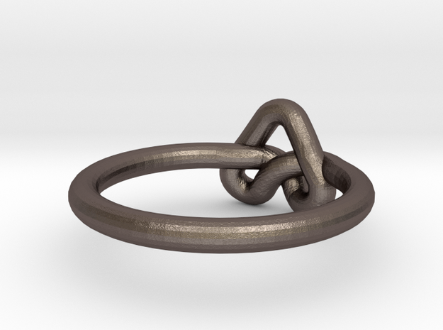 Love Knot-sz16 in Polished Bronzed Silver Steel
