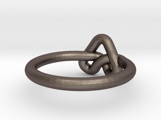 Love Knot-sz15 in Polished Bronzed Silver Steel