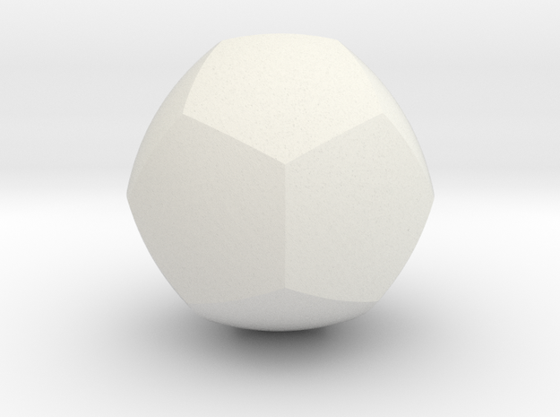 Curved Face Dodecahedron - Small in White Natural Versatile Plastic