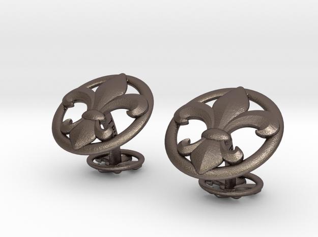 Fleur de LysCufflinks in Polished Bronzed Silver Steel