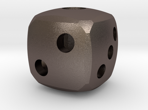 Rounded dice in Polished Bronzed Silver Steel