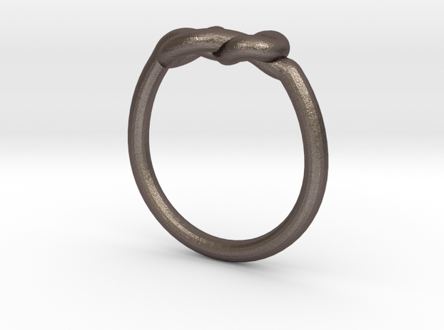 Infinity Knot-sz16 in Polished Bronzed Silver Steel