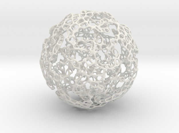 Linked Voronoi - Large in White Natural Versatile Plastic