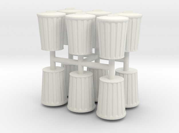 15mm Trash Cans (12) in White Natural Versatile Plastic