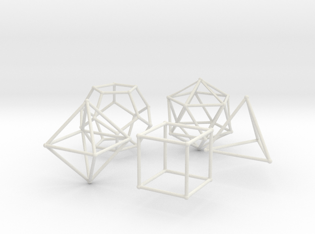 Plato Polyhedra radius 1 in White Strong & Flexible