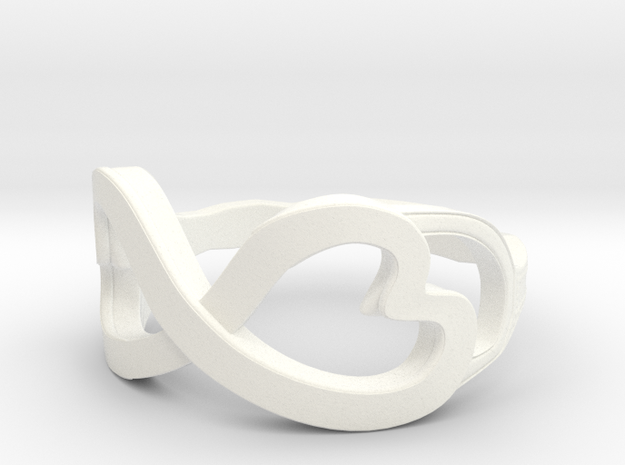 Double Heart Swirl Ring 3d printed