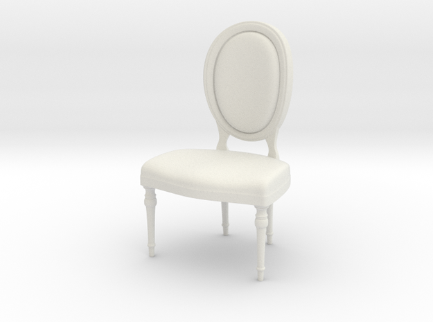 1:24 Oval Chair 2 (Not Full Size) in White Natural Versatile Plastic