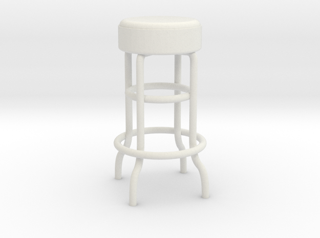 1:24 Metal Stool (Not Full Size) in White Natural Versatile Plastic