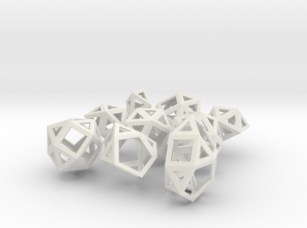 The Last 9 Johnson Solids in White Natural Versatile Plastic