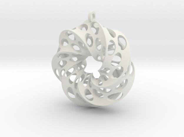 Mobius Square with Circles in White Natural Versatile Plastic