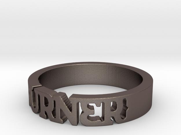 BlakOpal 'Burner' Cutout Band - Size 11 in Polished Bronzed Silver Steel