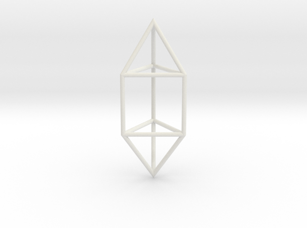 ElongatedTriangularDipyramid 70mm in White Natural Versatile Plastic